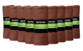 12 Pack Soft Warm Fleece Blanket or Throw Blanket - 50 x 60 Inch Brown - $58.04