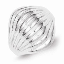 SOLID STERLING SILVER DOMED SHELL STYLE RING - 5 mm WIDTH -  SIZE 7 - £29.10 GBP