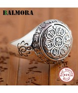 BALMORA 925 Sterling Silver Buddhism Six Words Mantra Unisex Ring - Vintage - £22.91 GBP
