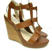 Steve Madden Womens 9B Iris Wedge Sandals Shoes Brown Leather Strappy Pa... - $45.00