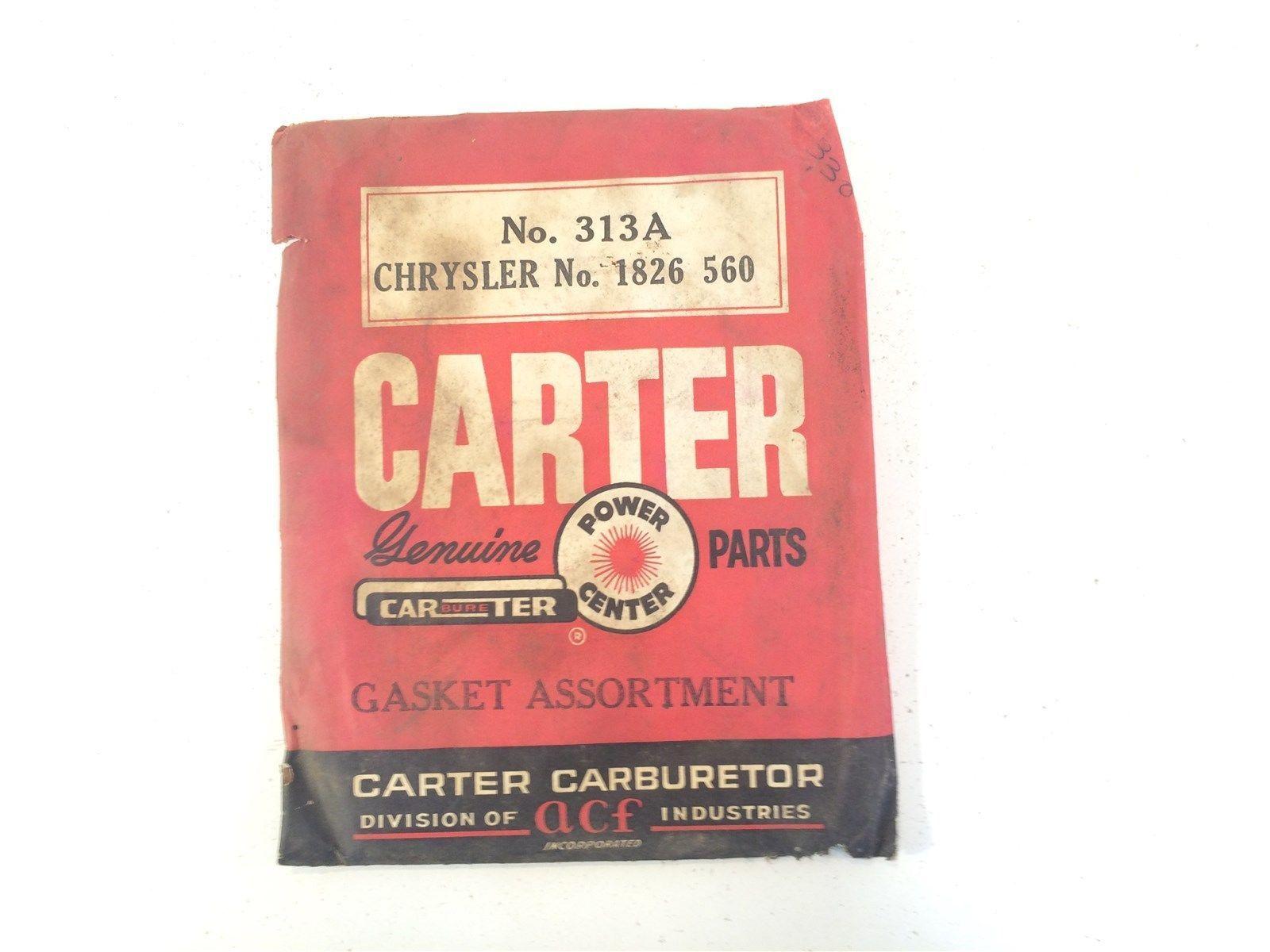 Vintage Carter Carburetor Gasket Assortment No. 313A Chrysler No. 1826 560
