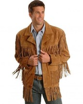 New Mens Western Native American Golden Tan Suede Leather Fringe Jacket ... - $137.00+