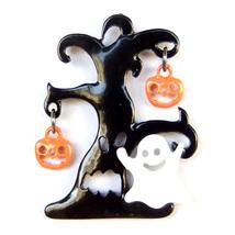 Brooch Black Tree Ghost Orange Pumpkin Halloween Unisex Men Suit Laple Pin - $7.99