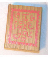 I Love You Stamp Wood Mounted Crafting Scrapboo... - $5.89
