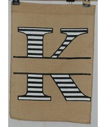 Kate Winston Brand Brown Burlap Monogram Black and White K Garden Flag - $16.00