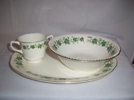 Vintage Homer Laughlin Green Ivy Vegetable Bowl HLC39 Scallop Oval Platt... - $21.99
