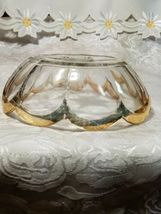 Heisey Glass Colonial Panel Pattern Round Bowl Dish Clear Gold Edge Star Diamond image 4
