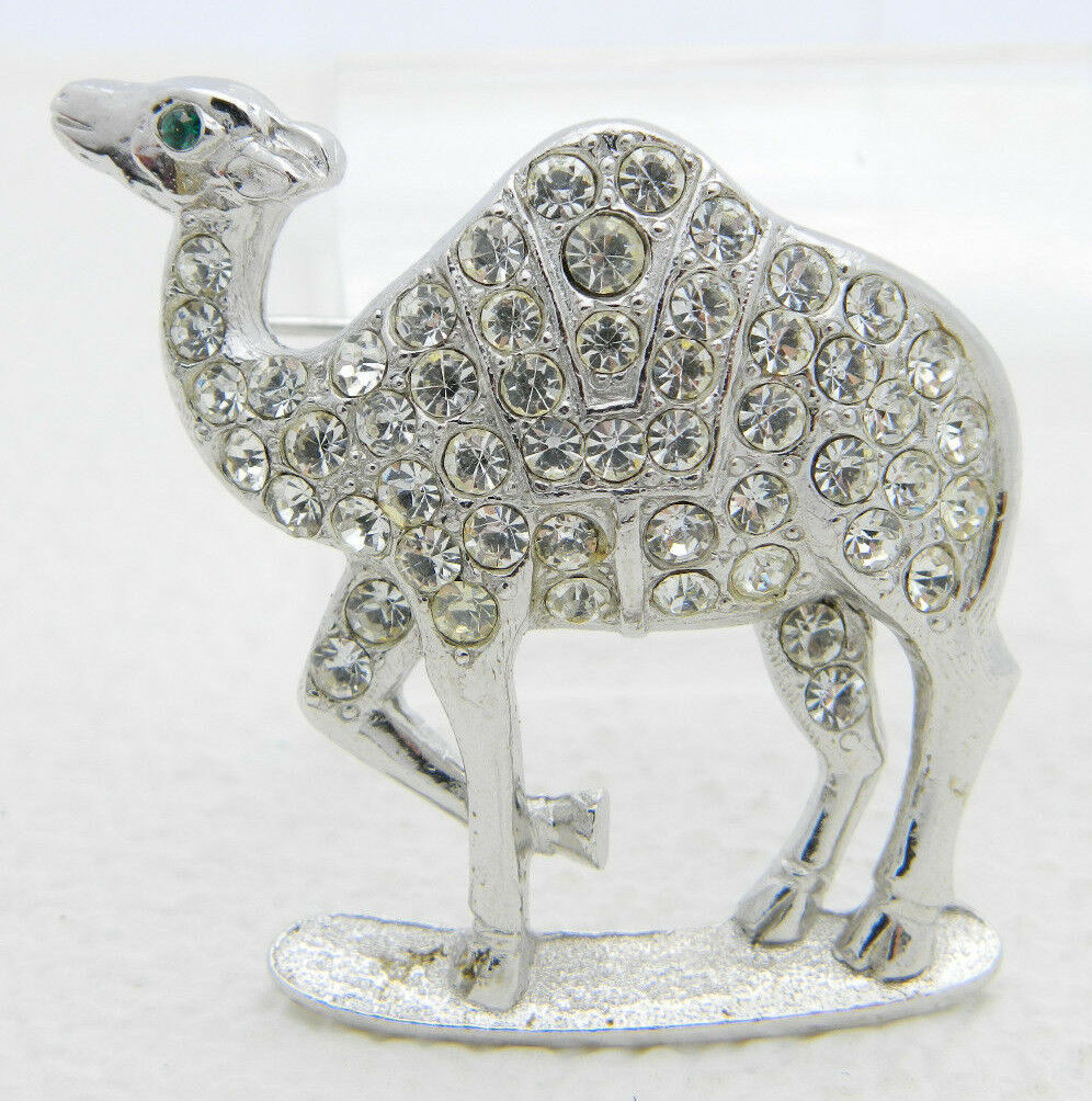 Primary image for Vintage ORA Silver Tone Clear Rhinestone Green Eyed Camel Pin Brooch