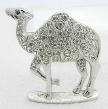 Vintage ORA Silver Tone Clear Rhinestone Green Eyed Camel Pin Brooch - $29.70