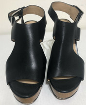 Micheal Kors Black Leather Wedge Sandals 8M - $27.69