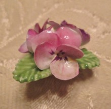 j127 Floral Bone China Brooch Pin Crown Mill St Stoke England Pink Pansy... - $23.76