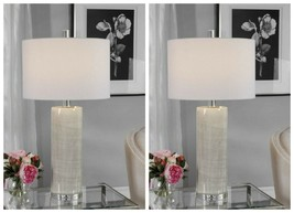 TWO MODERN CERAMIC TABLE LAMP POLISHED NICKEL METAL CRYSTAL BASE UTTERMOST - $594.00