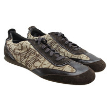 CALVIN KLEIN Carl Mens Size 11.5 Brown Suede Jacquard Signature Logo Sne... - $24.74
