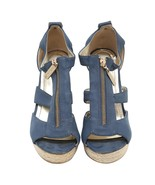 Auth KAREN & CHLOE Blue Zipper Wedge Sandal Rope Studded Heels Size 39 U... - $158.02