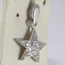 SOLID 18K WHITE GOLD STAR PENDANT WITH ZIRCONIA ROUND CUT, MADE IN ITALY image 1