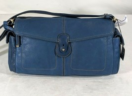 VP VINTAGE 1990's Liz Claiborne Navy Blue Leather Baguette Shoulder Bag Purse NW - $13.99