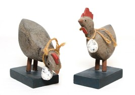 Pair of Chicken & Rooster Figurine Wood Art Hand Carved  - $18.32