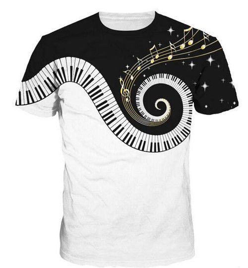 Summer Popular New Womens/Mens Music piano cute animal  Funny 3D print T-Shirt