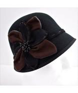 Scala Collezione 100% Wool Retro Bucket Black Hat Flower Womens One Size - $28.93