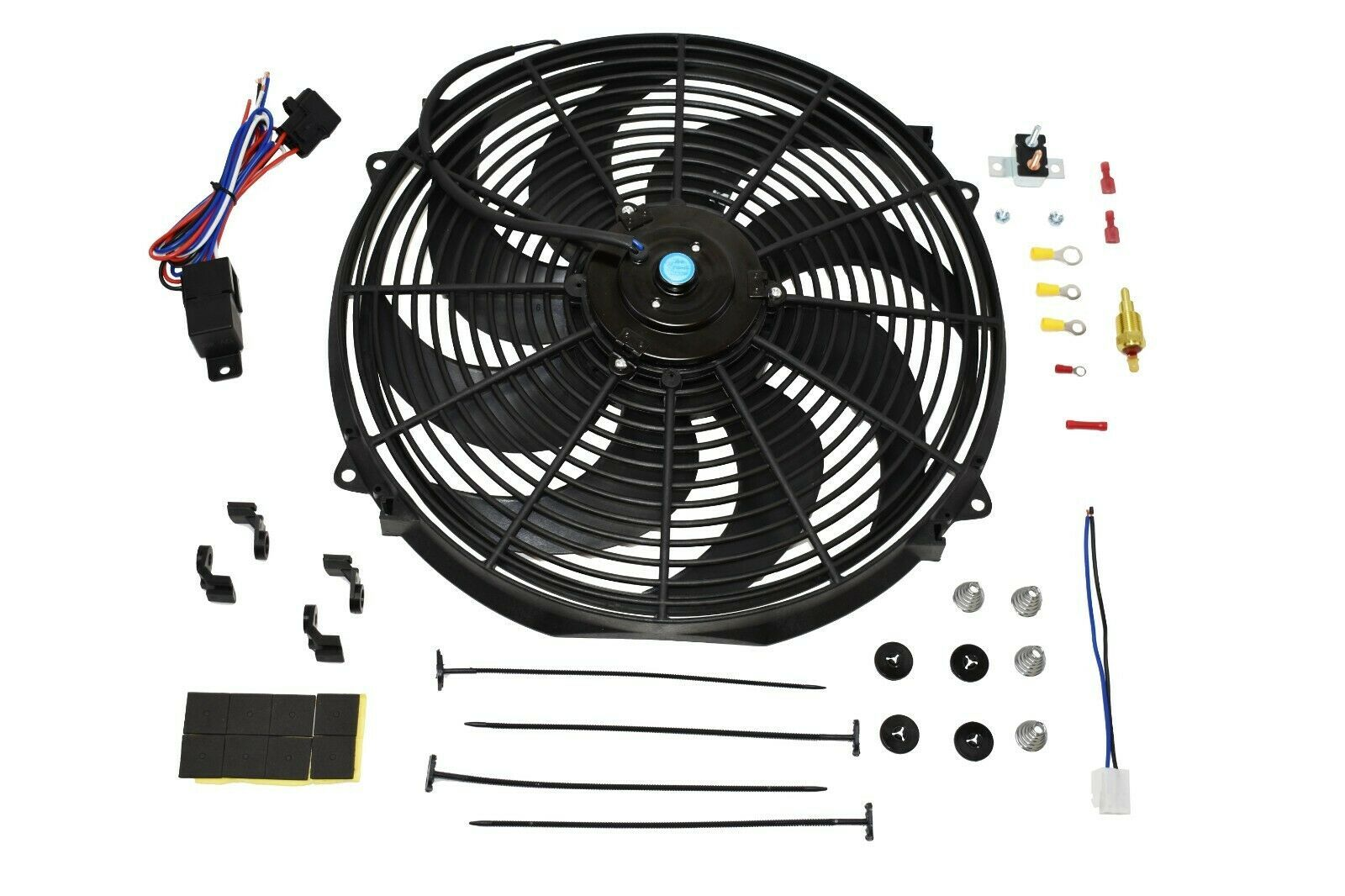 "16"" ELECTRIC FAN 8 BLADE 3000 CFM WIRING KIT COMPLETE THERMOSTAT 50 AMP RELAY"