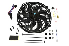 "16"" ELECTRIC FAN 8 BLADE 3000 CFM WIRING KIT COMPLETE THERMOSTAT 50 AMP RELAY image 1"