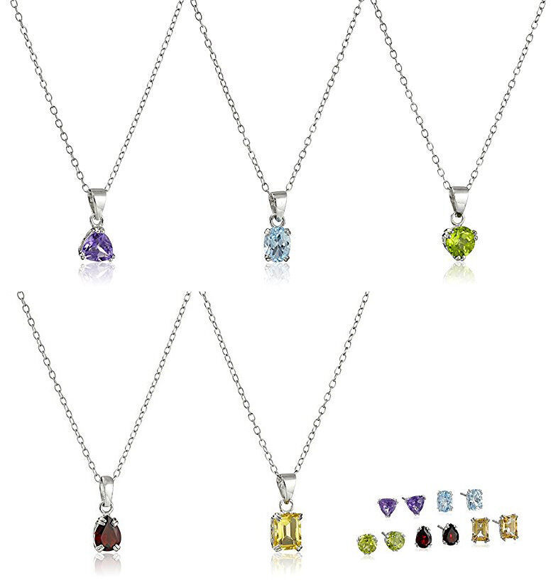 5 Sterling Silver Peridot Garnet Amethyst Blue Topaz Citrine Earrings Necklaces