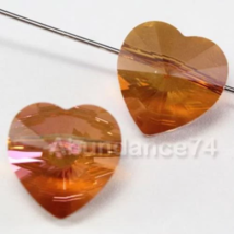 Genuine Swarovski Crystal Elements 5742 Heart Beads COPPER - 14mm 4pcs - $6.20
