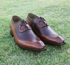 Handmade Men's Brown Fashion Dress/Formal Leather Shoes image 2