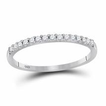 14kt White Gold Womens Round Diamond Wedding Single Row Band 1/6 Cttw Si... - $232.59