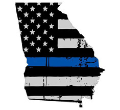 State Of Georgia Tattered Flag Thin Blue Line Support Car Window Bumper ... - $2.00