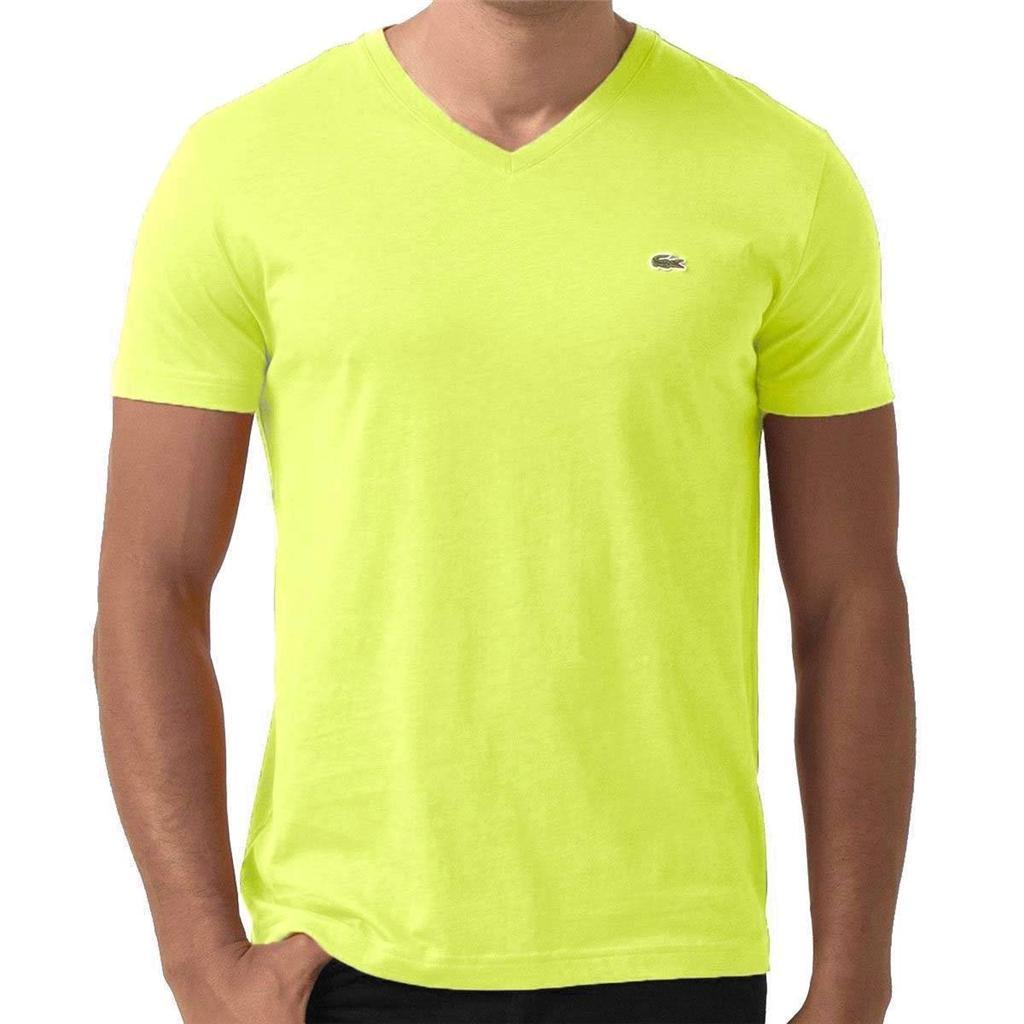 Lacoste Men's Athletic Cotton V-Neck Shirt T-Shirt Zeste Fluo