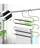 5in1 Multi-Layer Clothes Pants Trouser Hanger Rack Wardrobe Organize Spa... - £13.37 GBP