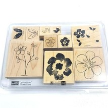 Stampin Up Rubber Stamp Set Flower Fancy 10 Pieces Wooden Plants  - $16.82