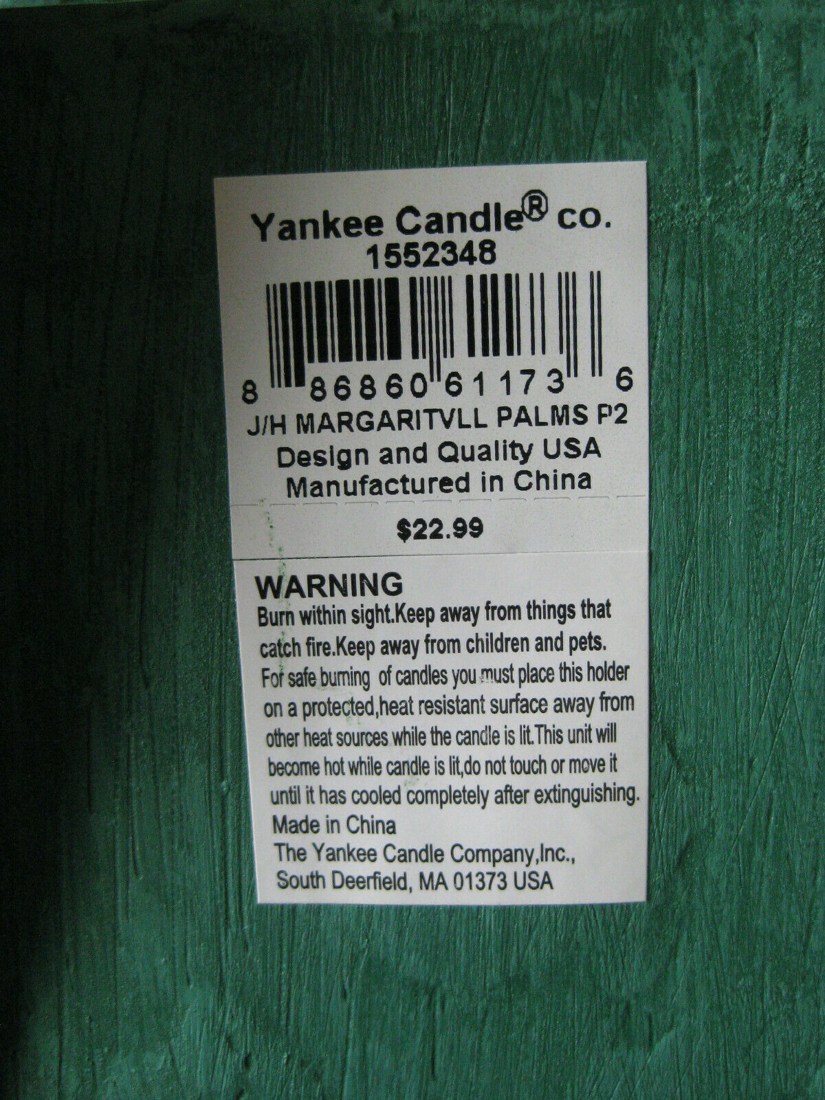 Yankee Candle Margaritaville Palms Adirondack Chair Square Jar Candle Holder NEW