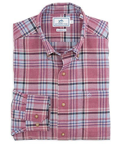 Southern Tide Men's Pisgah Classic Fit Plaid Sport Shirt, Sangria, S