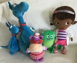 Disney Store Doc McStuffins Glo-Bo Green Monster Stuffy Blue Dragon Talk... - $34.64