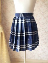 Navy Plaid Skirt Outfit Women Girl Pleated Plaid Skirt Navy Plaid Mini Skirts image 3