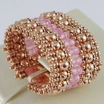 925 Silver Ring Rose Gold Plated, Top & Balls, Pink Quartz image 3