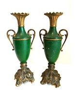 Antique Pair Metal Shaped Urn Vase Ornate Base Handles Deep Green 12.24 ... - $157.40