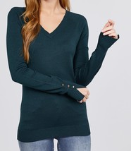 Long Sleeve Sweater with Split Sleeve Detailing, Teal Sweater, Viscose S... - $27.99