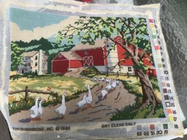 "1985 Goosewalk Needlepoint COMPLETED barn 16x12"" wool needlework  See Details - $34.65"