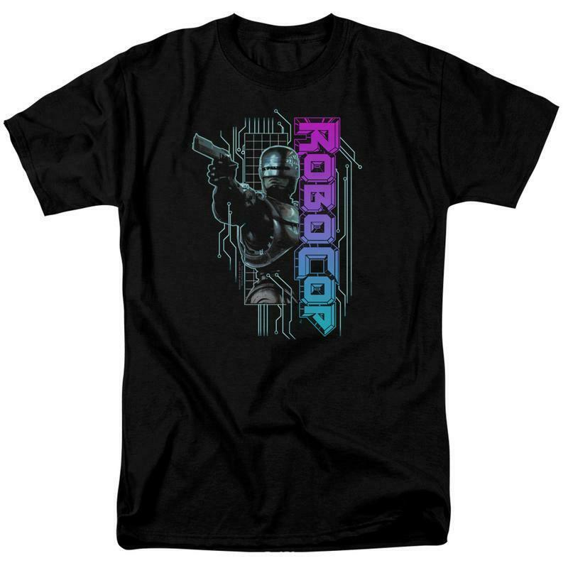 RoboCop Retro 80's action cyborg crime movie Detroit graphic t-shirt MGM395