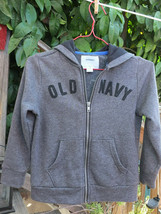 Old Navy ~ Zip Up Hoodie Long Sleeves Kids Size Xs (5) Gray w/ Logo ~ Ships Free - $13.99