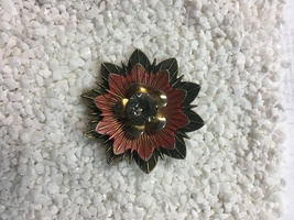 Vintage Antique Red & Black Enamel Chunky Brooch With Large Stone - $28.00