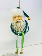 Christmas Ornament Santa Head Ceramic Velvet Green Bells - $11.87