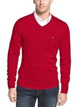Tommy Hilfiger Sweater Mens Cherry Red Long Sleeve V-Neck Cotton Size XXL New - $34.99