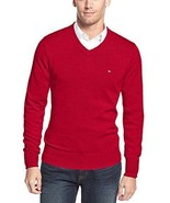 Tommy Hilfiger Sweater Mens Cherry Red Long Sleeve V-Neck Cotton Size XX... - $34.99