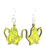 Green Tree Jewelry Lemon Yellow Teapot Wooden Laser Cut Earrings #1513 - $9.99