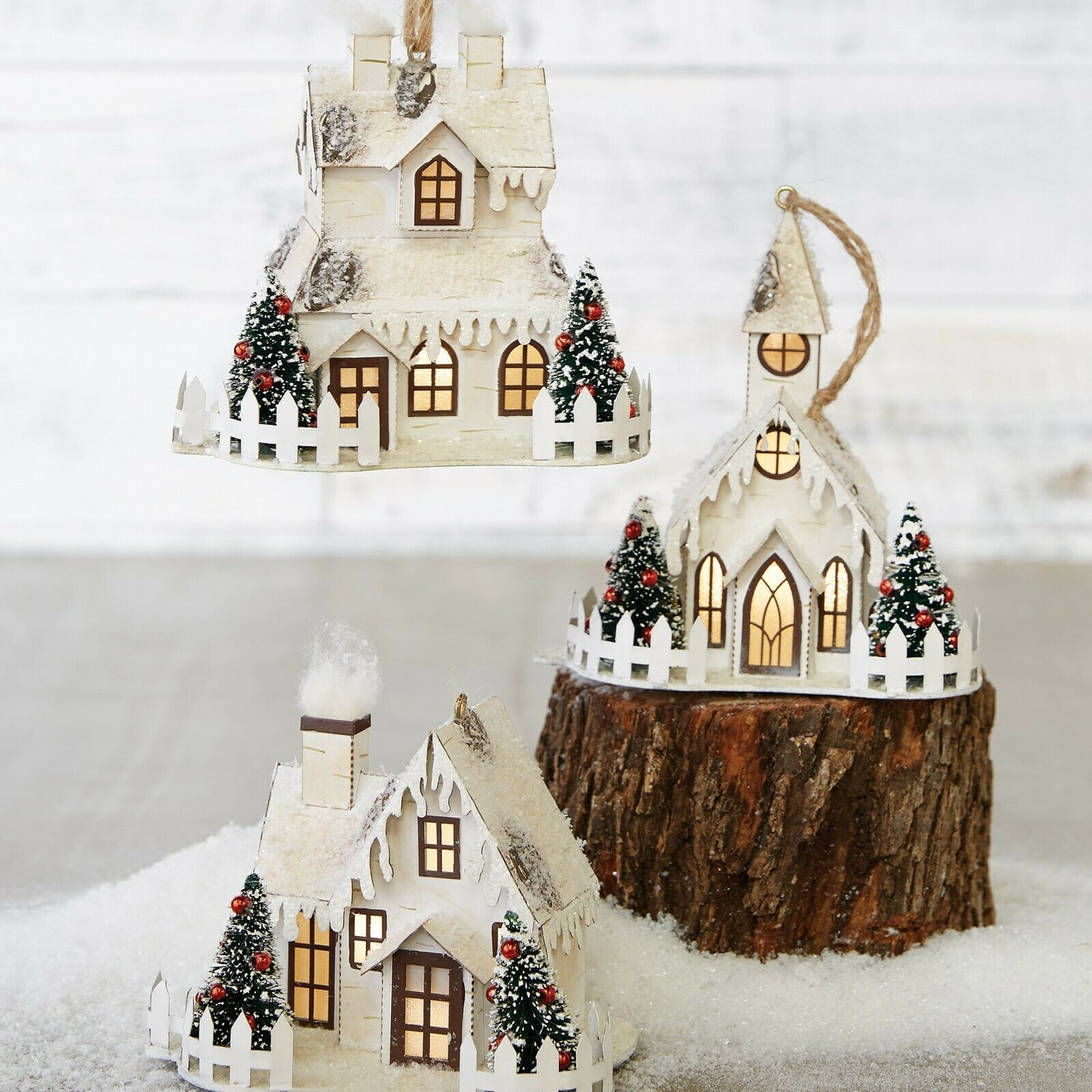 "Raz Imports 5.5"" Lighted Christmas House Ornament Set ..."