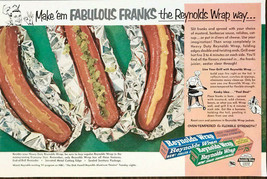 1963 Reynold's Wrap Print Ad Make 'Em Fabulous Franks Grilling Ideas - $9.95